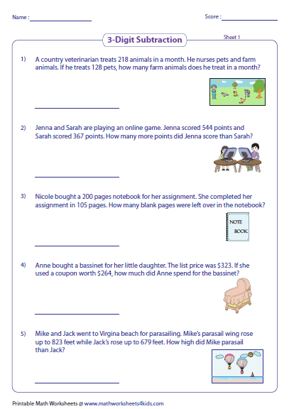 Subtraction Word Problems Worksheets