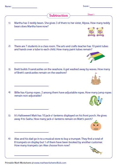 math worksheet : subtraction word problems worksheets : Subtraction Word Problem Worksheet