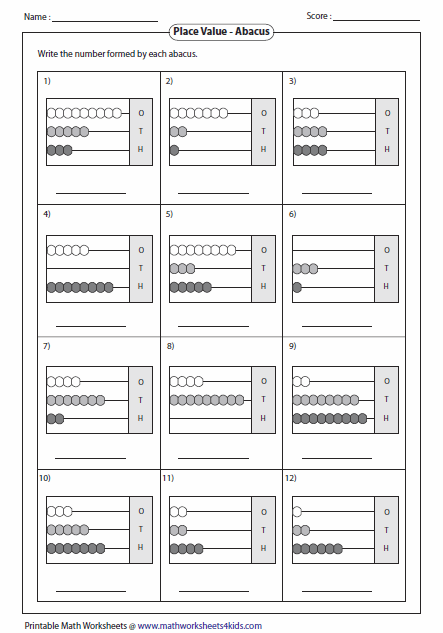 Printables Abacus Worksheets reading abacus worksheets 3 digit numbers with abacus