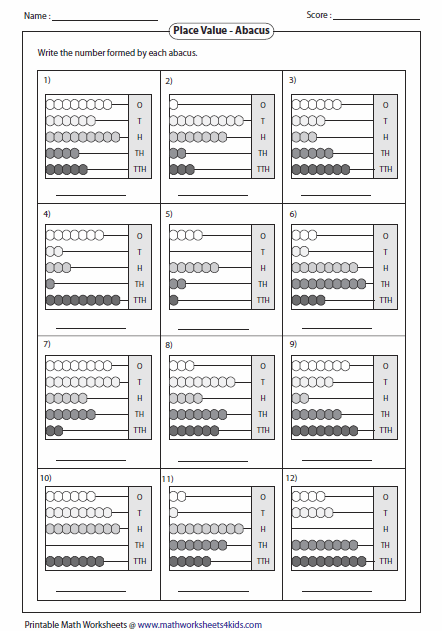 Printables Abacus Worksheets reading abacus worksheets 5 digit numbers with abacus