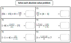 Printables Absolute Values Worksheet absolute value worksheets