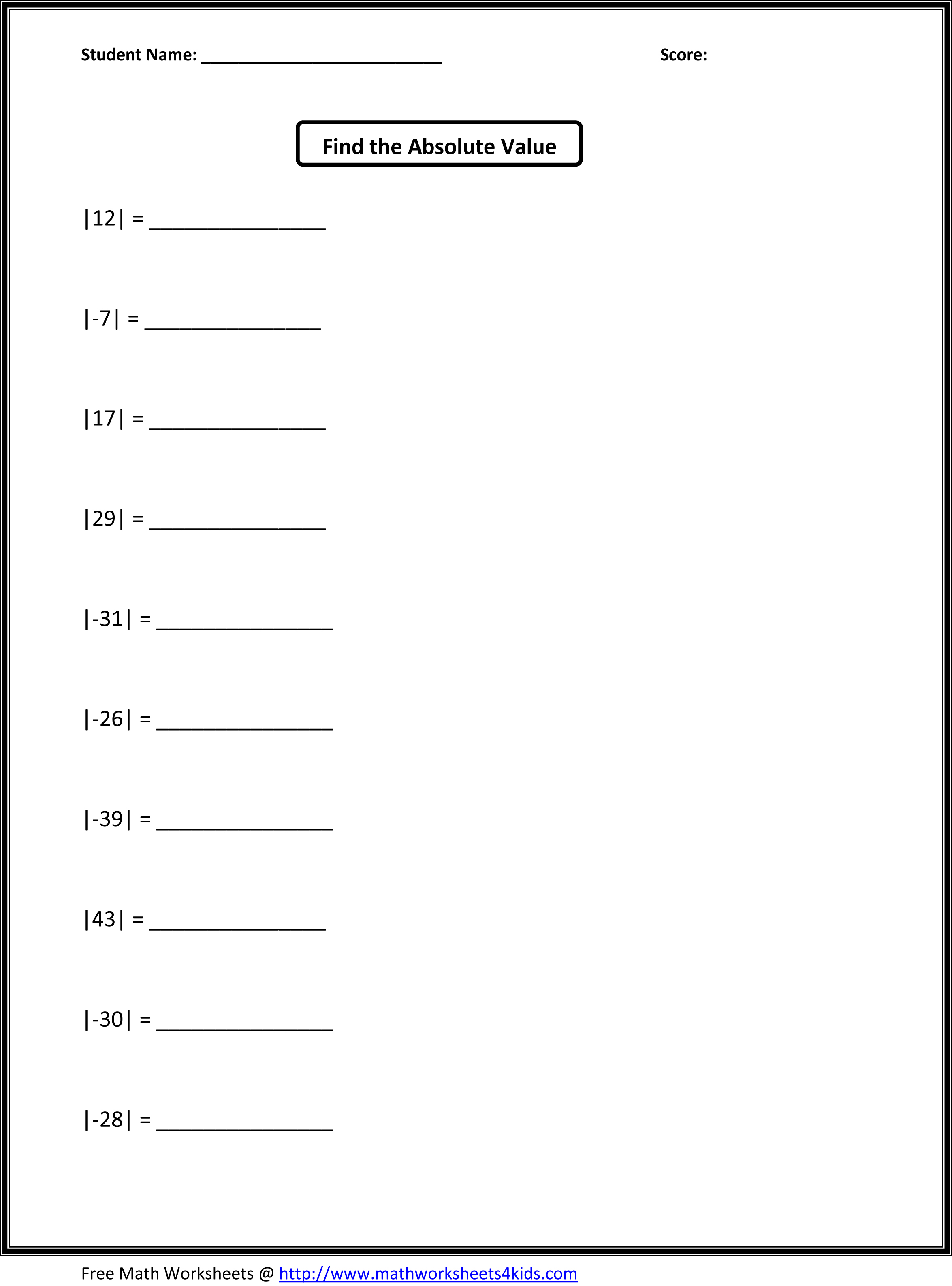 Fifth Grade Math Worksheets