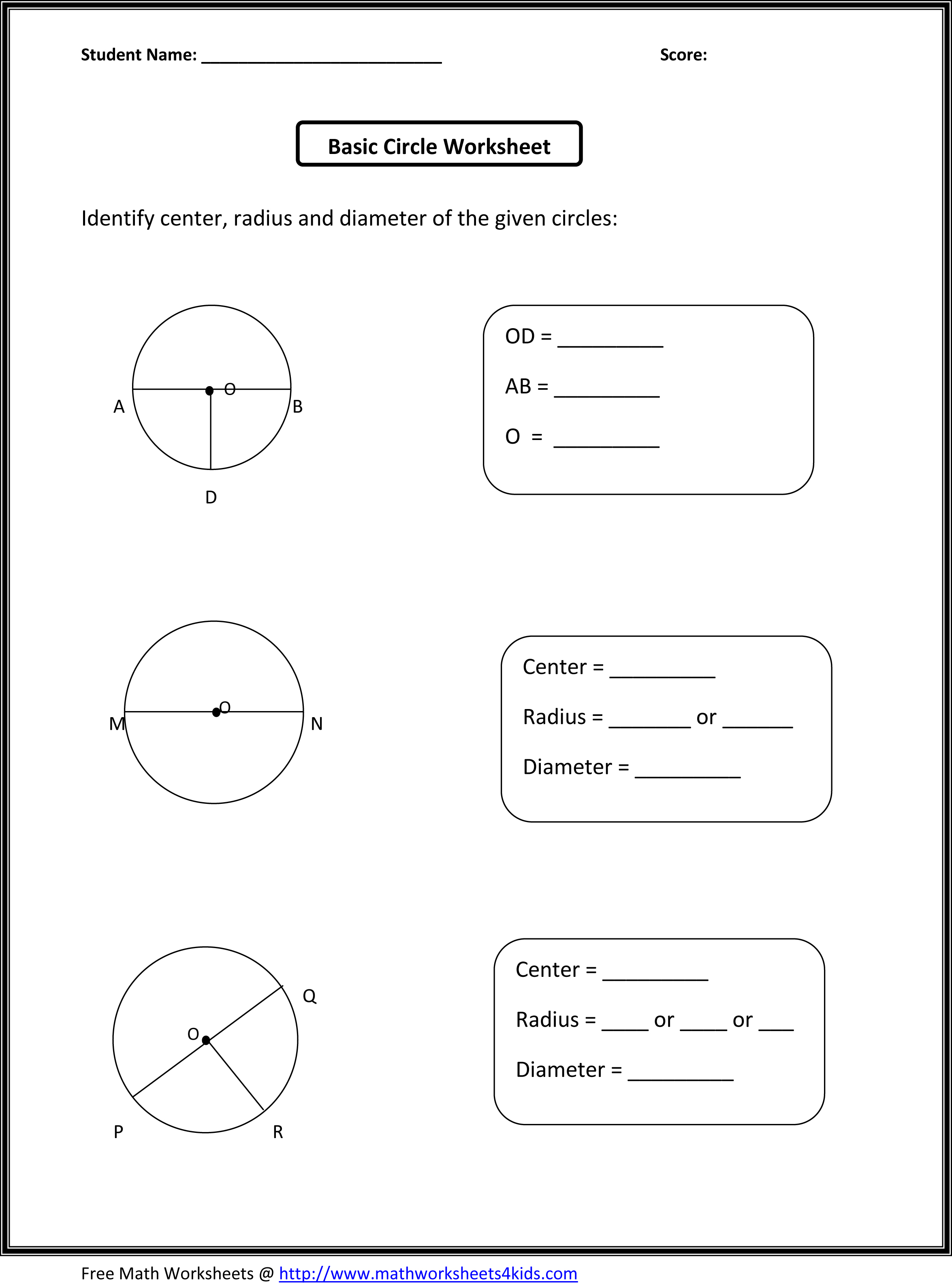 Circle Worksheet – Maths Circles Worksheets