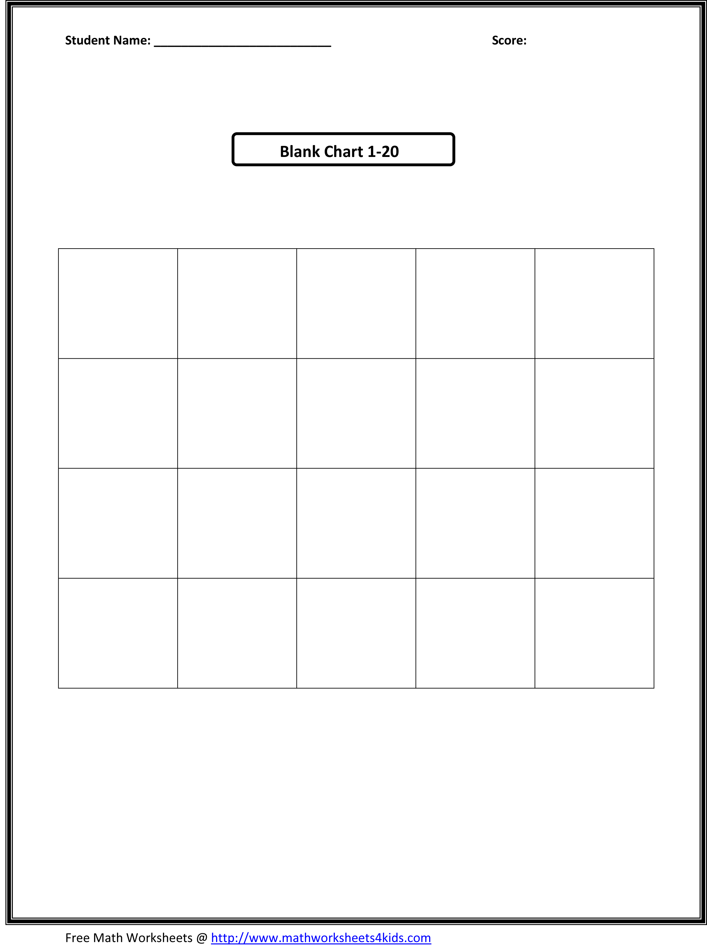 Blank Kindergarten Number Worksheets 1 20