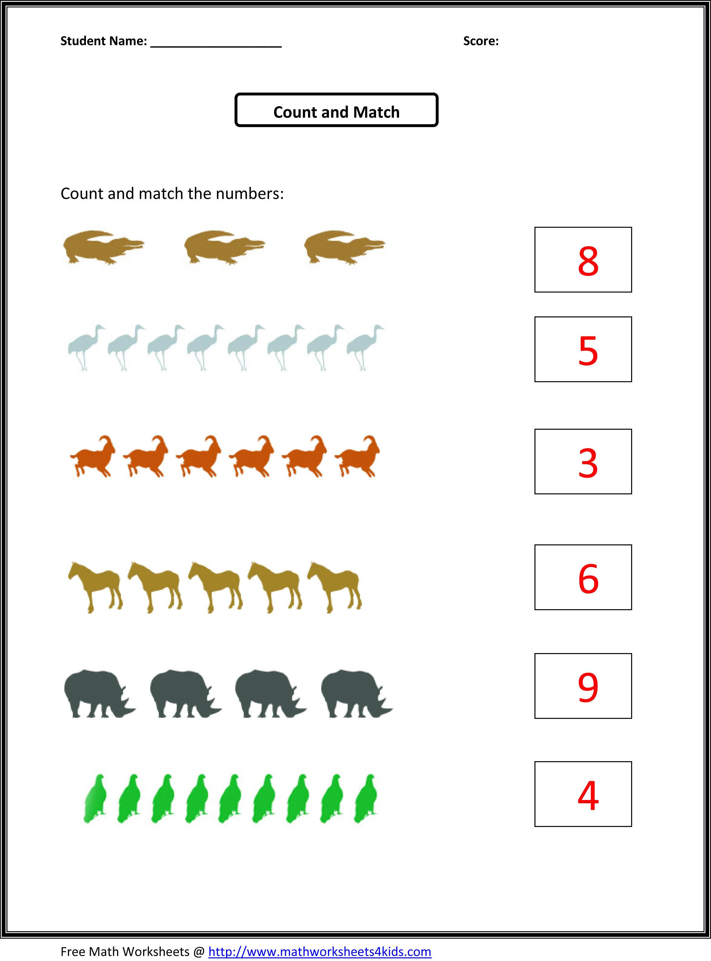 Number Counting Worksheets for Kindergarten
