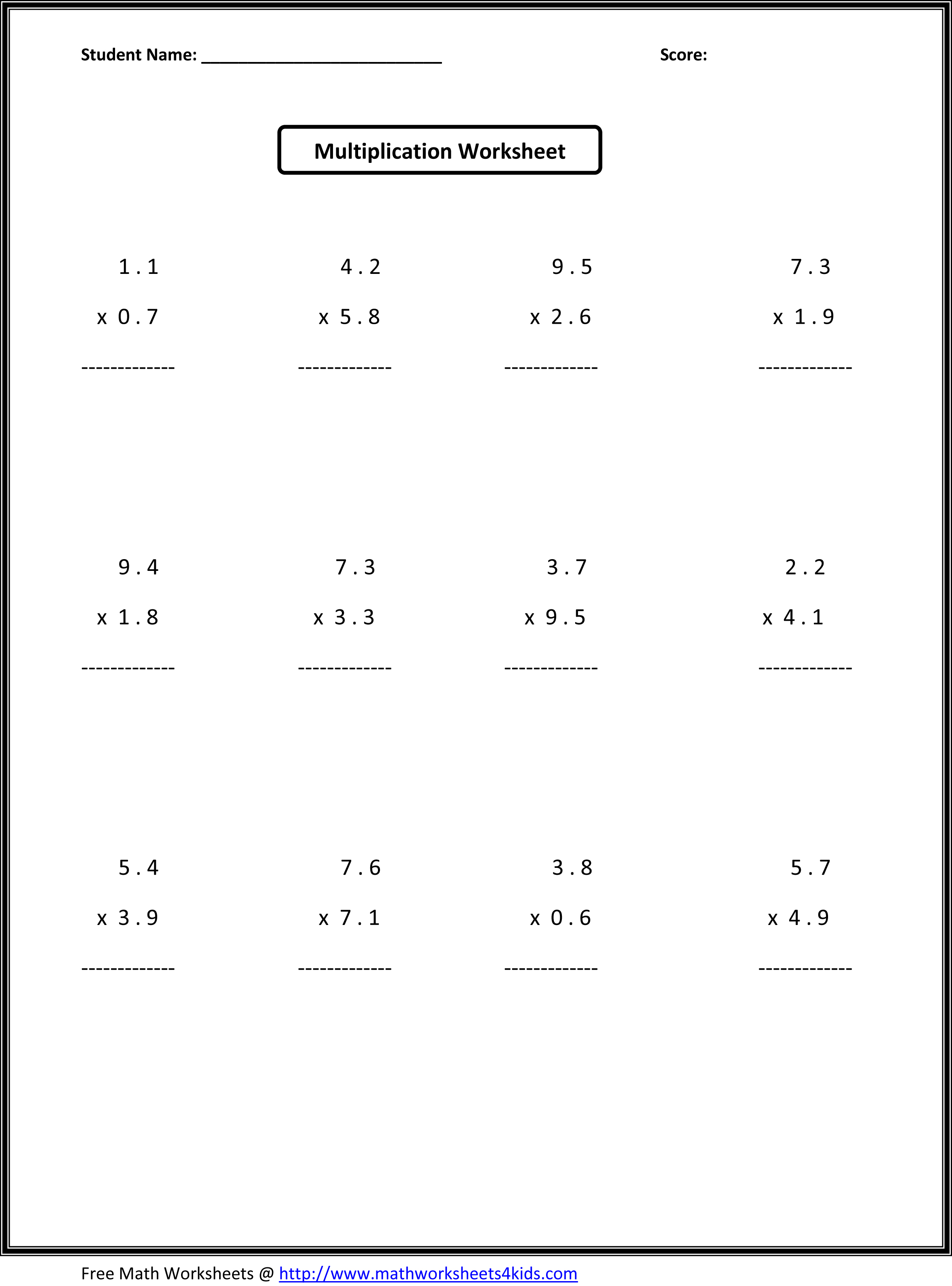 Free Printable Math Worksheets For 7Th Grade – Math Worksheets for 7th Graders Printable Free