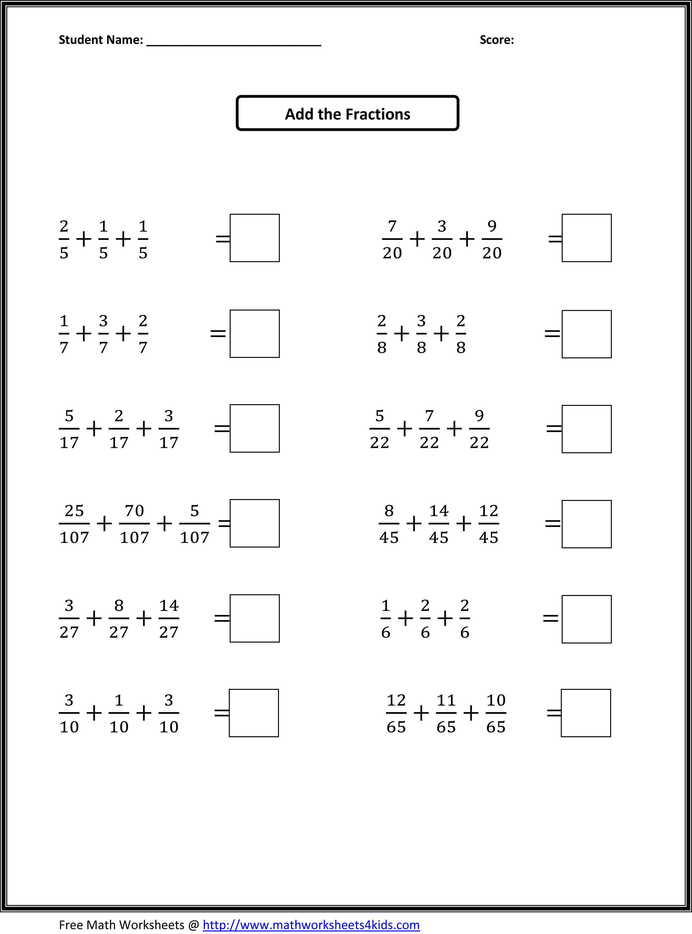 Addition of fractions worksheets