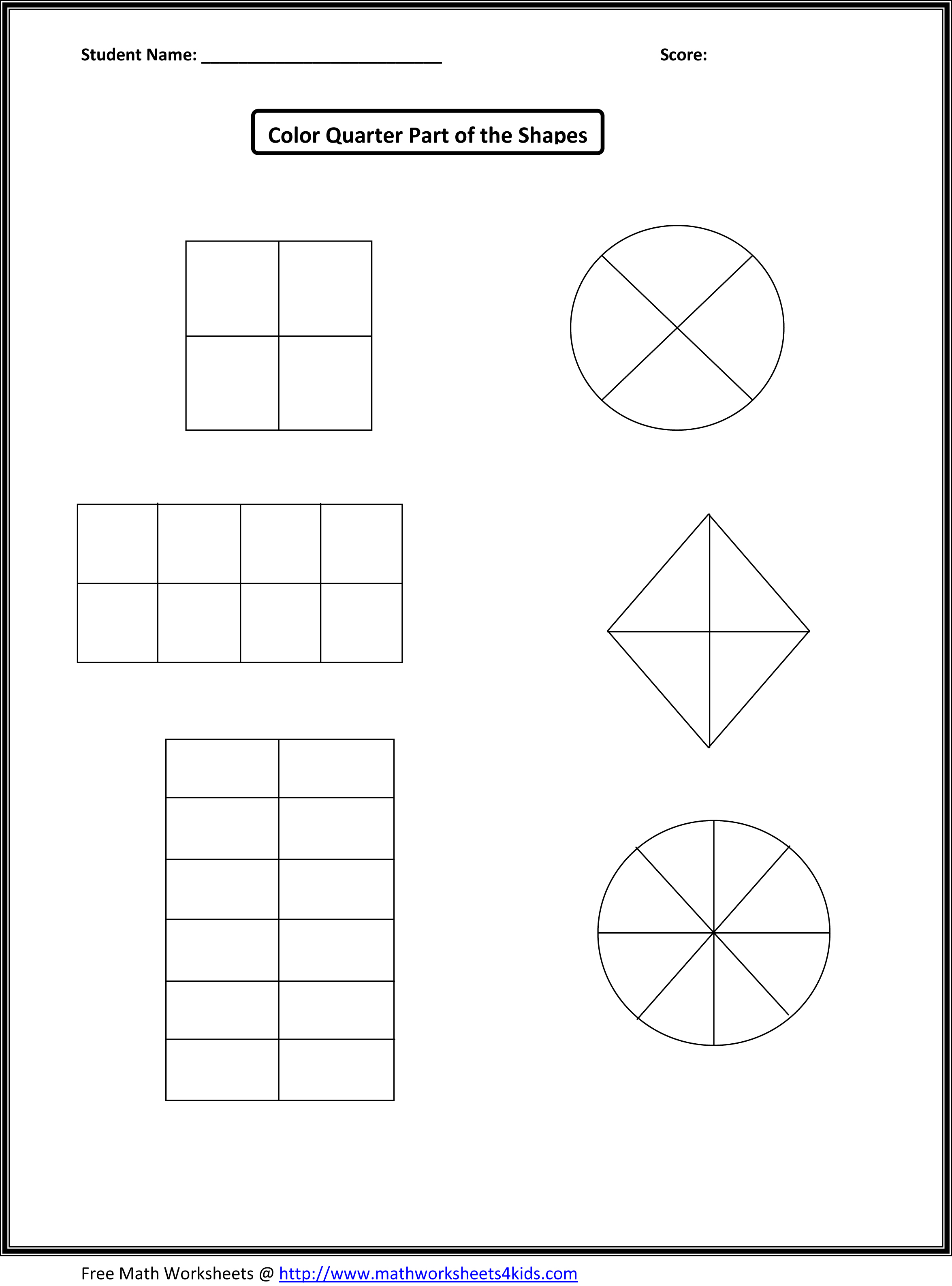 fraction worksheets shaded fraction shapes fraction shape worksheets ...