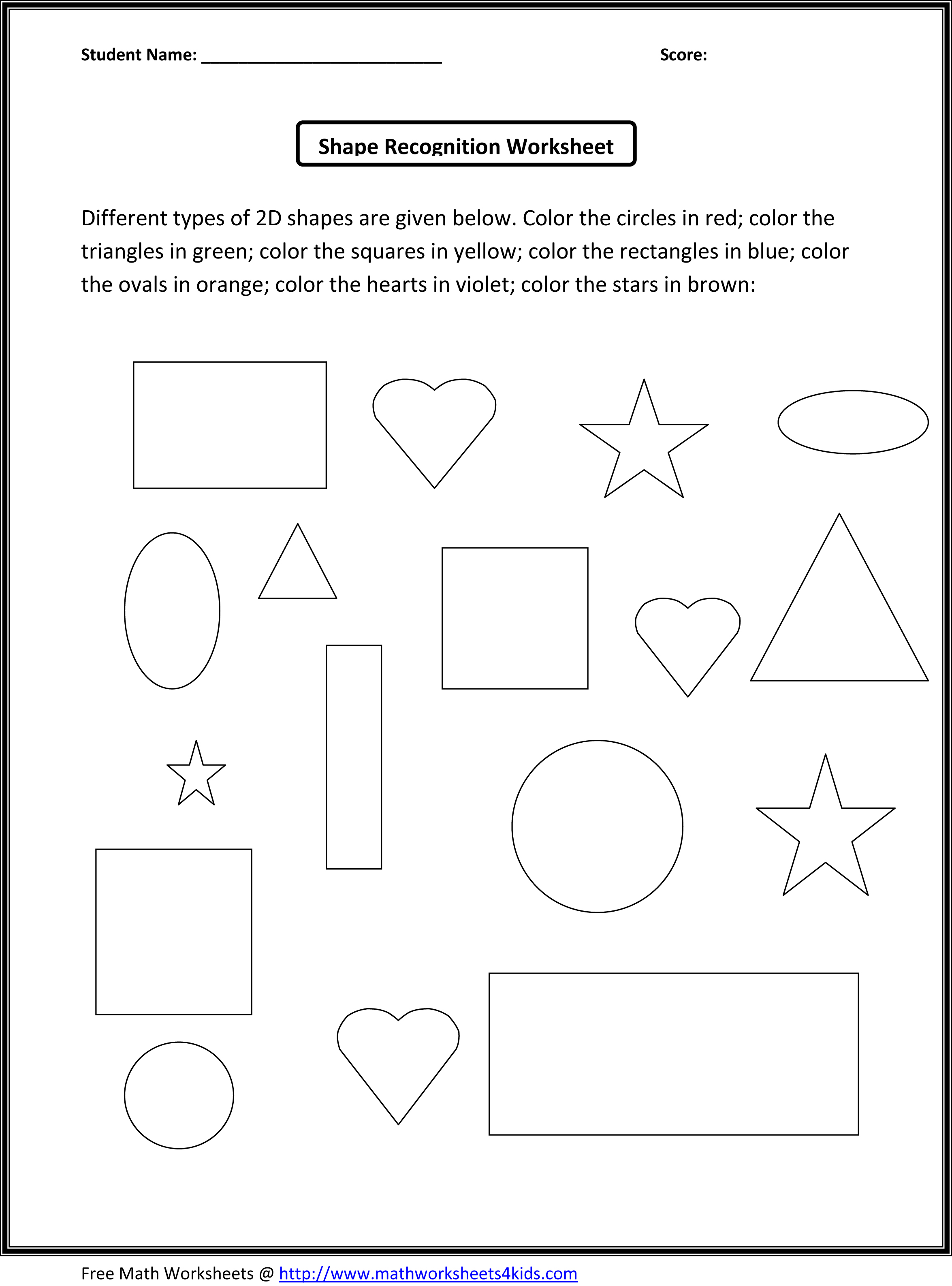Math Shapes For Kids Scalien – 2d and 3d Shapes Worksheets for Kindergarten