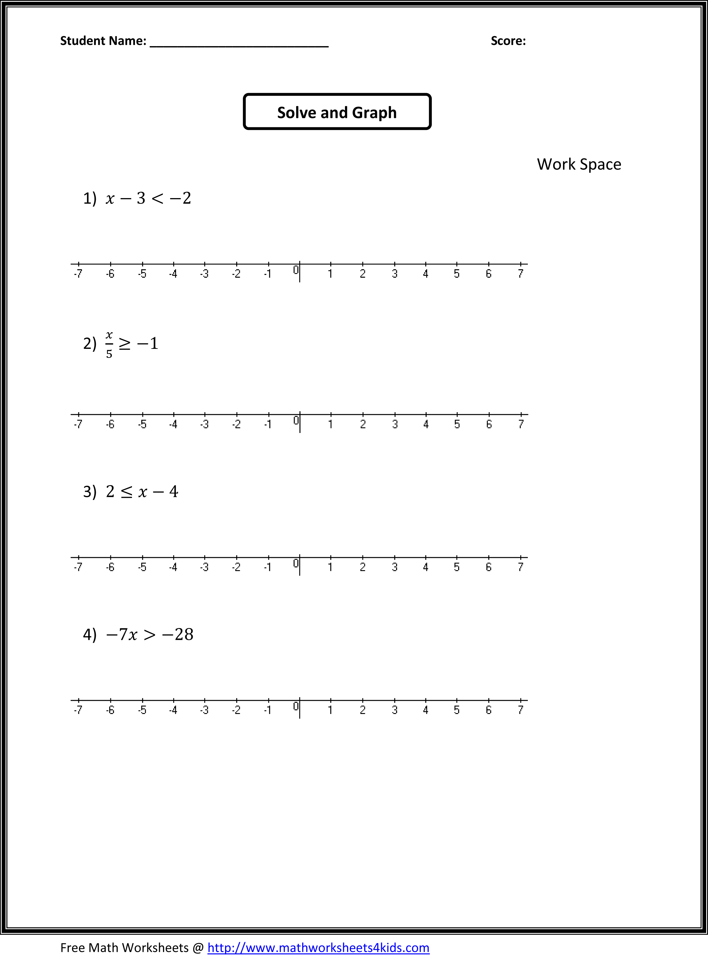 Absolute Value Equation and Function Worksheets