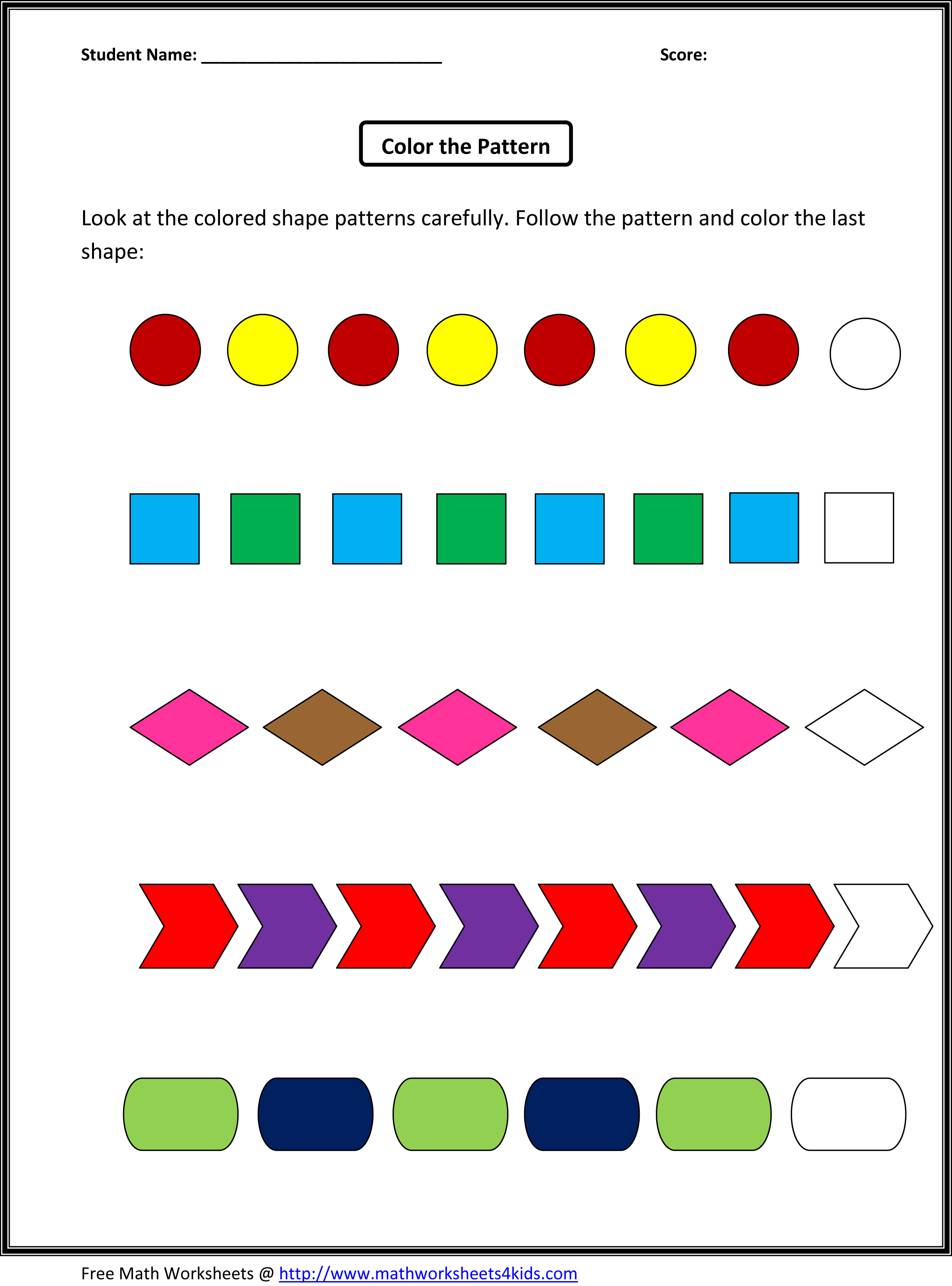 For Kindergarten Scalien – Pattern Worksheets Kindergarten
