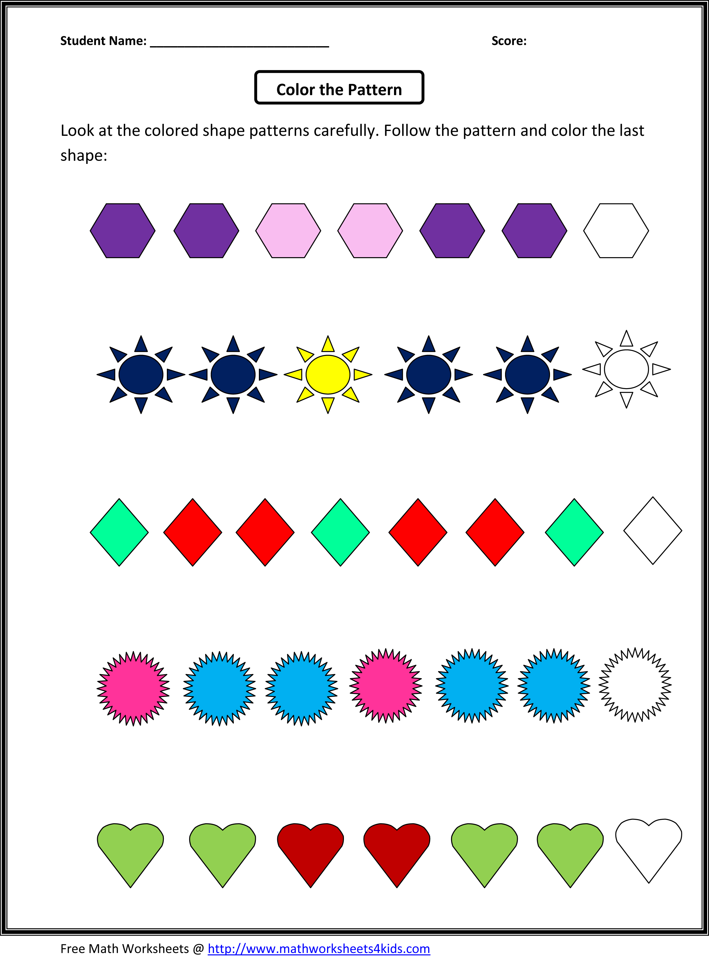 Complete Shape Patterns Worksheets | Apps Directories