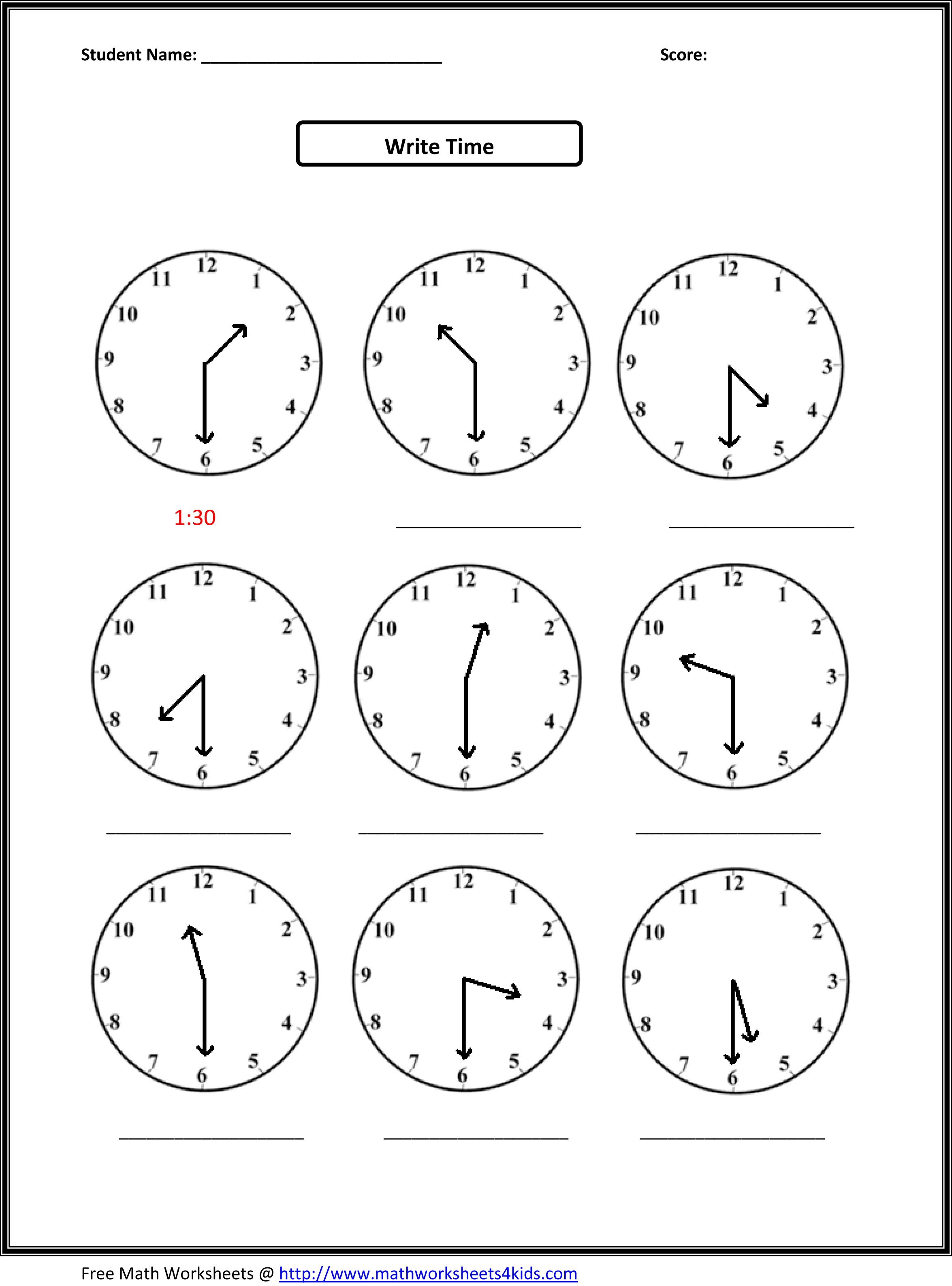 math worksheet : time math worksheets first grade  worksheets on study  writing  : 1st And 2nd Grade Math Worksheets