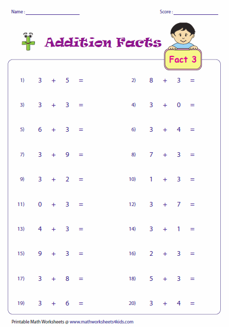 Printables Addition Facts Worksheets addition facts worksheets single number fact horizontal