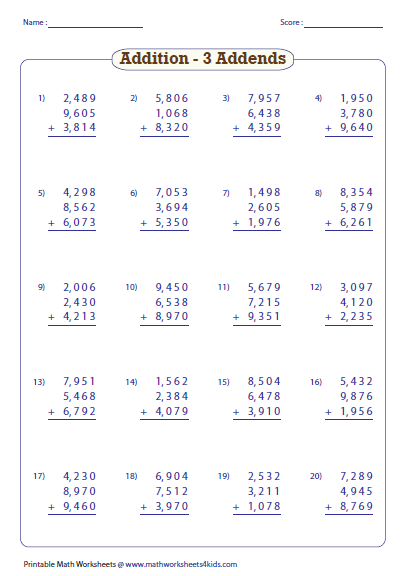 Worksheets Adding Whole Numbers Worksheets adding large numbers worksheets three addends addition with word problems