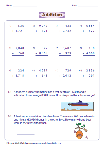 Worksheets Adding Whole Numbers Worksheets adding large numbers worksheets 4 digit and 3 addition with word problems