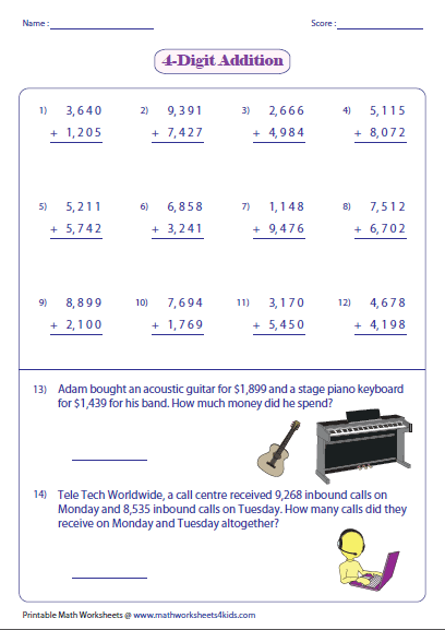 math worksheet : adding large numbers worksheets : 4 Digit Addition Worksheet