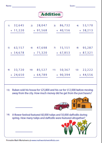 adding large numbers worksheets digit addition with word problems