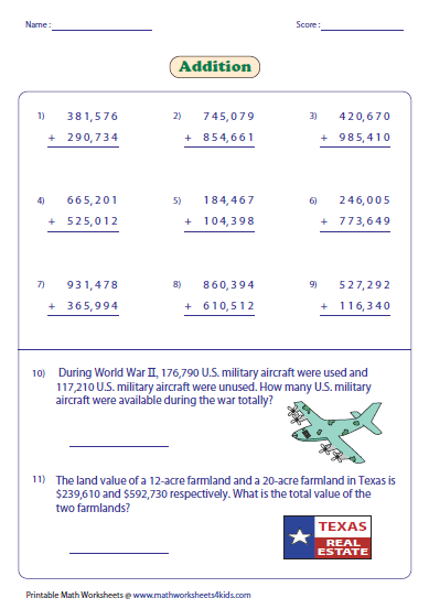 math worksheet : adding large numbers worksheets : Four Digit Addition Worksheets