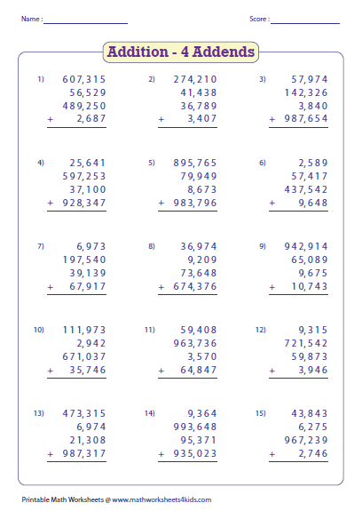Worksheets Adding Whole Numbers Worksheets adding large numbers worksheets list of numbers
