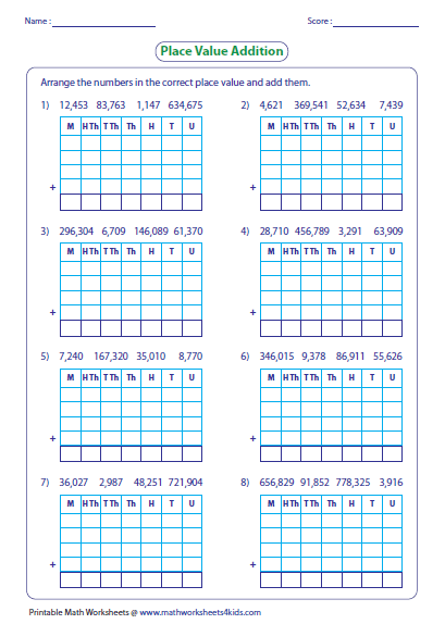 adding large numbers worksheets