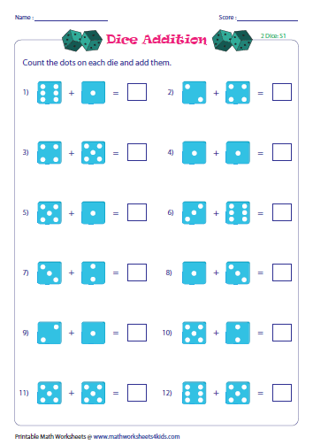 Worksheets Picture Addition Worksheets addition with pictures worksheets dice addition