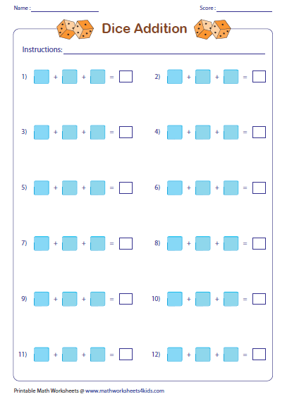 addition with pictures worksheets teacher template dice and domino