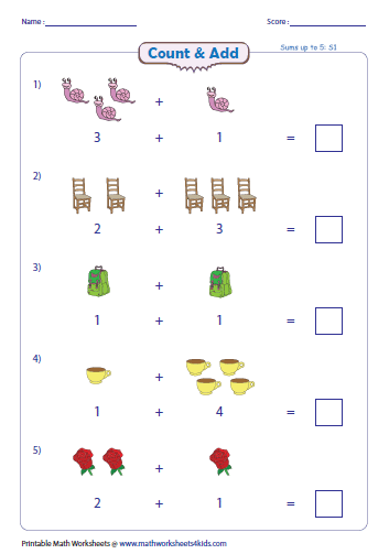 addition with pictures worksheets complete the addition sentence