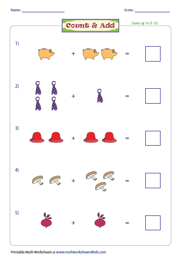 count and add the pictures - Addition Worksheet