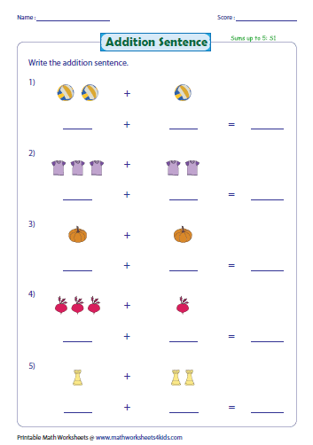 Addition Worksheets kindergarten math addition worksheets pdf : Addition with Pictures Worksheets