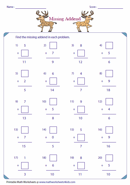 single digit addition worksheets missing addends column addition