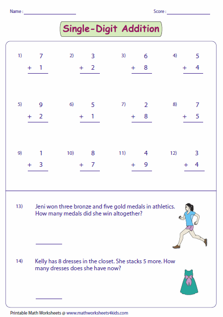 Printables Single Digit Addition Worksheets single digit addition worksheets with word problems