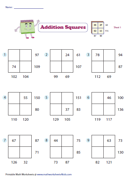 math worksheet : addition squares : Box Method Multiplication Worksheet