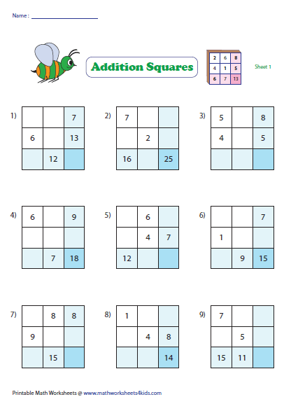 math worksheet : addition squares : Addition Puzzle Worksheets