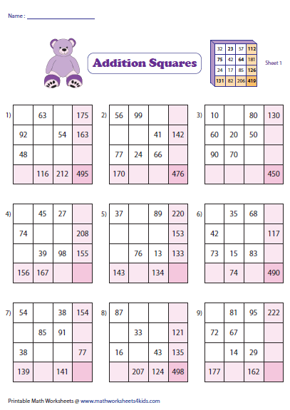 math worksheet : addition squares : Multiplication Squares Worksheets