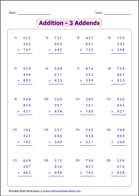 Worksheets 3 Number Addition Worksheets 3 digit addition worksheets more addends