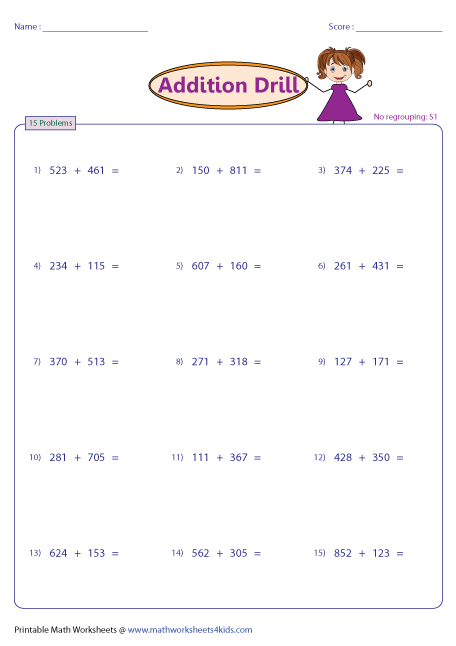 math worksheet : 3 digit addition worksheets : Addition Drills Worksheets