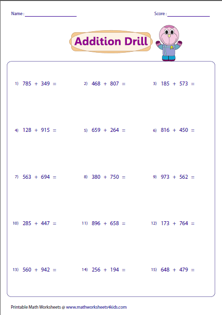 digit addition worksheets threedigit horizontal addition drill regrouping
