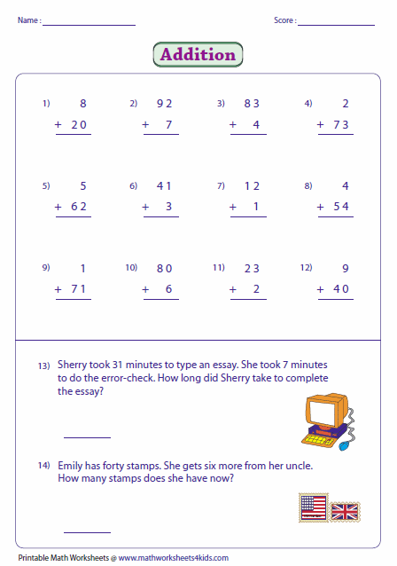 Printables Adding Two Digit Numbers Worksheets 2 digit addition worksheets adding and single numbers