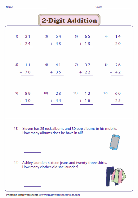 Printables 2 Digit Addition Worksheets 2 digit addition worksheets with word problems