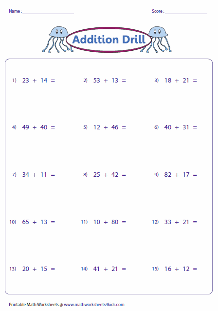 Number Names Worksheets regroup in addition : 2 Digit Addition Worksheets