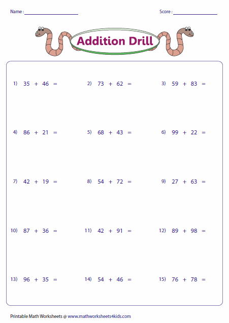 simple double digit addition worksheets - 451×637