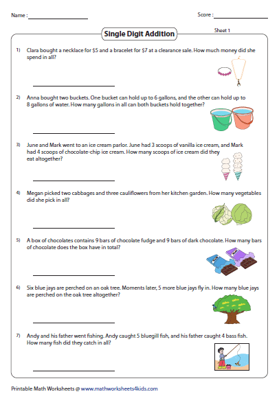 Addition Word Problems / FREE Printable Worksheets – Worksheetfun