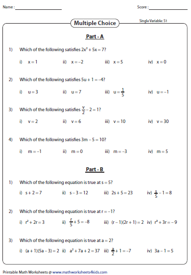Printables Algebraic Expressions Worksheets 5th Grade evaluating algebraic expression worksheets multiple choice expressions