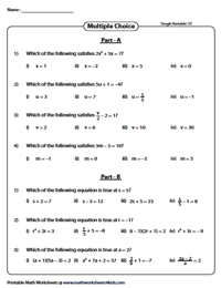Evaluating algebraic expression worksheets mcq equations ibookread PDF