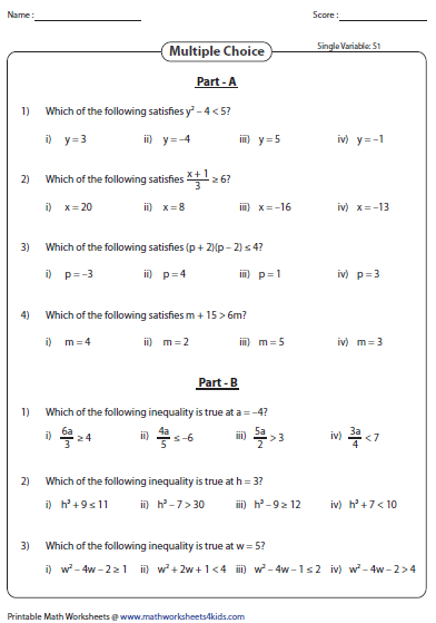 Printables Math Expressions Worksheets evaluating algebraic expression worksheets expressions inequalities