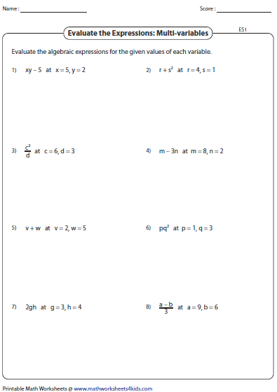Worksheets Variable Worksheets evaluating algebraic expression worksheets expressions multi variables