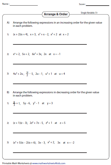 Worksheets Variable Worksheets evaluating algebraic expression worksheets order the expressions single variable