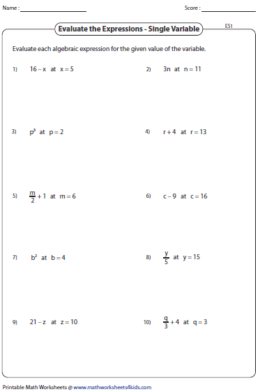 Printables Algebraic Expressions Worksheet evaluating algebraic expression worksheets expressions single variable