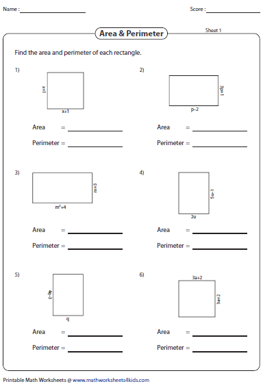 Simplifying Algebraic Expression Worksheets